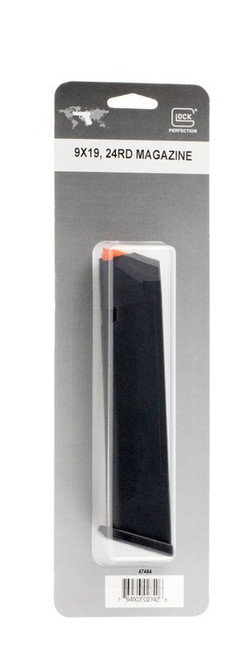 Glock G17/34 Magazine 9mm, 24Rd, Cardboard Style Packaging, Black, Orange Follower 47464