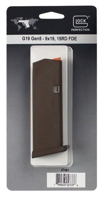 Glock G19 Magazine, 9mm, 15Rd, Cardboard Style Packaging, Flat Dark Earth, Orange Follower 47461