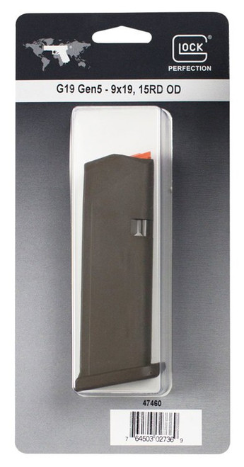 Glock G19 Magazine, 9mm, 15Rd, Cardboard Style Packaging, OD Green Finish, Orange Follower 47460