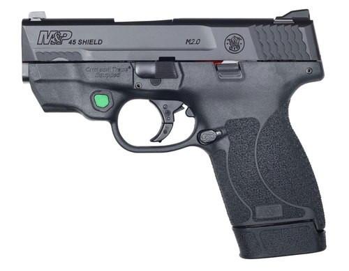 """Smith & Wesson M&P45 Shield M2.0, 45 ACP, 3.3"""" Barrel, Green Crimson Trace Laser"""