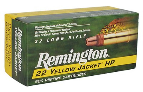Remington Yellow Jacket Hyper Velocity 22LR 33gr, Truncated Cone Hollow Point, 500/Brick