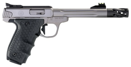 "Smith & Wesson SW22 Victory Target Performance Center 22LR, Single 6"",Black Polymer Grip Stainless Steel, 10rd"