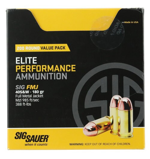 Sig Elite Ball 40 S&W 180gr, Full Metal Jacket, 200rd/Box