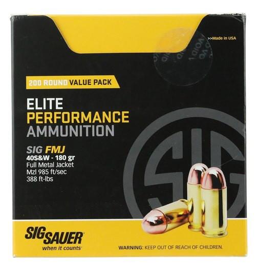 Sig Elite Ball 40 S&W 180gr, Full Metal Jacket, 200rd/Box
