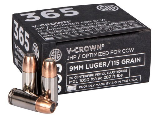 Sig Ammo V-Crown 9mm 115gr, JHP, 20rd Box