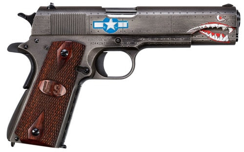 """Auto Ordnance, Squadron, Special Edition WW2, Semi-automatic, 1911, 45 ACP, 5"""" Barrel, Steel Frame, Black/Gray Cerakote Finish, Wood Grips US Logo, 7Rd, 1 Mag, Thumb Safety, Blade Front/Adjustable Rear Sight, Custom Engraved to Resemble a WW2 Fighter Plan"""