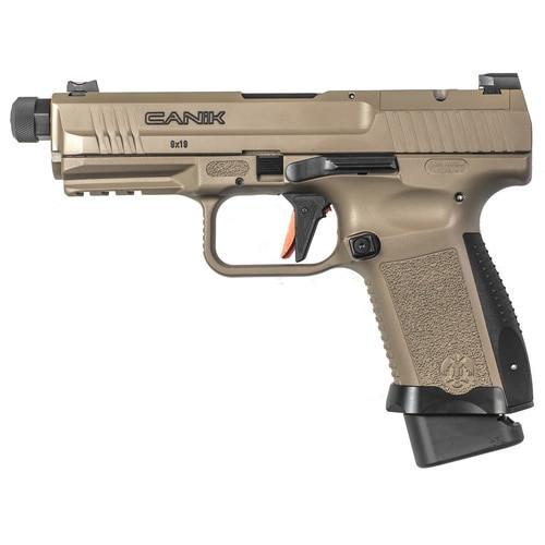 """Canik TP9 Elite Combat 9mm Single 4.78"""" Threaded Barrel,, /18+1 Desert Tan Interchangeable Backstrap Grip Polymer Frame Desert Tan Cerakote Slide,  15 rd"""