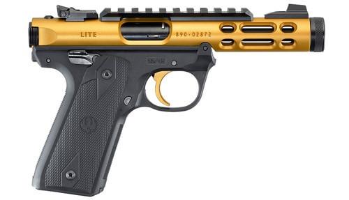 """Ruger Mark IV 22/45 Lite, .22 LR, 4.4"""" Threaded Barrel, Gold, 10rd"""