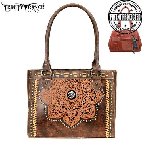 Trinity Ranch Tooled Leather Collection Concealed Carry Tote - Coffee