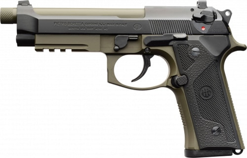 "Beretta M9A3G, 9mm, 5.2"" Threaded Barrel, 17rd, Green/Black"