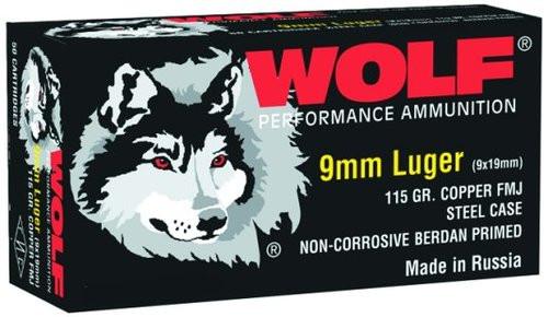 Wolf Handgun 9mm 115gr, Full Metal Jacket, 500rd/Case