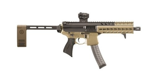 "Sig MPX AR-15 Pistol, SIG Red Dot Sight 9mm 8"" Barrel KeyMod Rail, Flat Dark Earth, Pivoting Brace 30rd Mag"