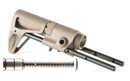 Maxim CQB AR15 Rifle Stock Aluminum Flat Dark Earth Silent Captured, Spring Standard
