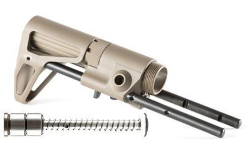 Maxim CQB AR15 Rifle Stock Aluminum Flat Dark Earth, Silent Captured, Spring Heavy