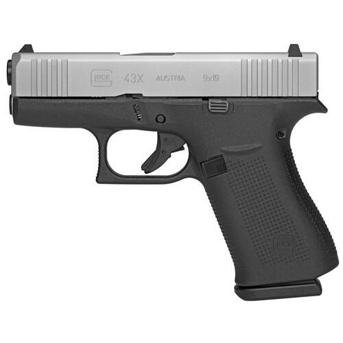 "Glock, 43X, Semi-automatic, Striker Fired, Sub Compact, 9mm, 3.41"" Barrel, Polymer Frame, Silver Finish, 10Rd, 2 Mags, Glock Night Sights"