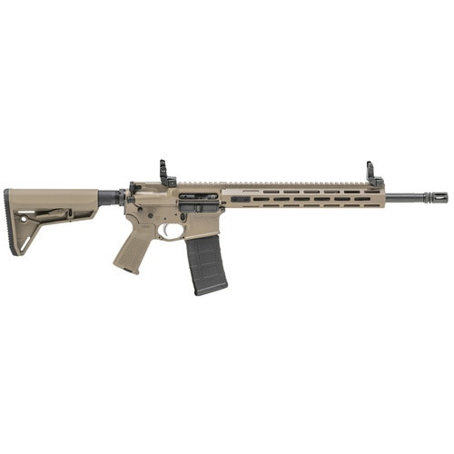 "Springfield SAINT AR-15 223/556 16"" Barrel, Flat Dark Earth Magpul Stock and Grip, M-Lok Handguard, 30Rd PMAG, Flip Up Sights"