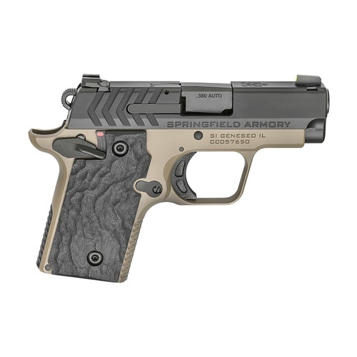 "Springfield 911 Micro Compact 380ACP 2.7"" Barrel, Alloy Frame, Desert Flat Dark Earth Cerakote, 1-6Rd & 1-7Rd Mag, Night Sights"