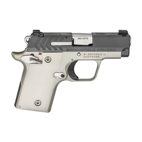 "Springfield 911 Micro Compact 380ACP 2.7"" Barrel, Platinum Finish, Graphite Cerakote Slide,1-6Rd & 1-7Rd Mag, Ivory Grips, Night Sights"