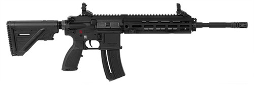 "HK, HK416, Semi-Automatic, 22 LR, AR-15, 16.1"" Threaded Barrel, 1/2X28 Threads, Black, Synthetic Stock, Right Hand, 1 Mag, 20Rd, M-Lok RIS Rail, Front/Rear Flip Sights"