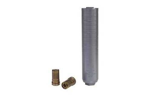 "Q Thunder Chicken Rifle Suppressor, 1.75"" Diameter, 8.125"" Length, 7.62/300Blk/300 Win, Titanium, Black, Quickie Fast Attachment"
