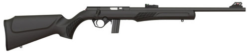 "Rossi RB22 22LR, 18"" Barrel, Black, Synthetic Stock, 10Rd, Adjustable Fiber Optic Sights"