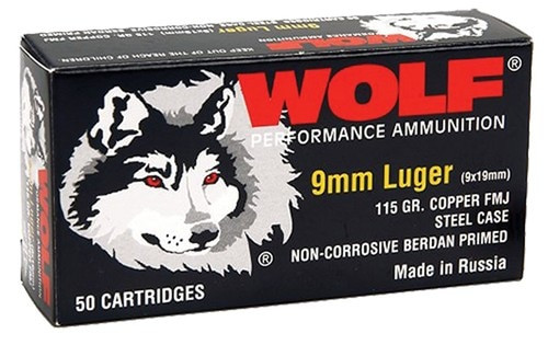 Wolf 9mm 115gr, FMJ CP, 50rd Box