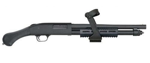 "Mossberg 590 Shock N' Saw, 12Ga, 14.375"", 3"", 5rd, Synthetic Black Raptor Grip, Blued"