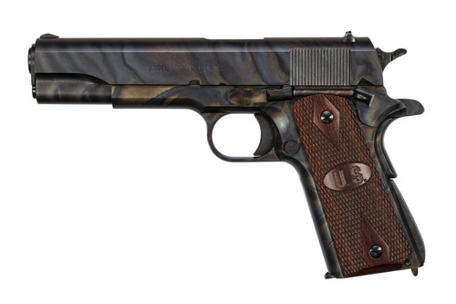 "Auto-Ordnance 1911A1, 45 ACP, 5"", 7rd, Checkered Wood Grips, US Logo, Case Hardened"