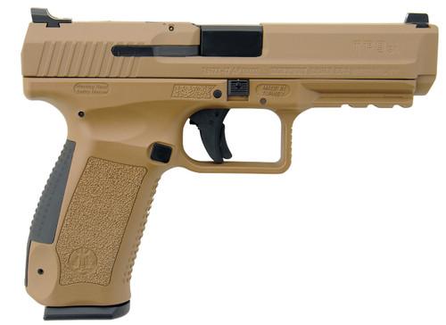 "Century CanikTP9SA Mod.2 Single 9mm Luger 4.46"" Barrel Desert Tan Interchangeable Grip 18rd Mag"