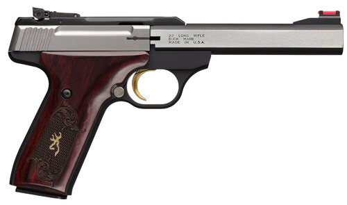 "Browning Buck Mark, Medallion Rosewood 22 LR, 9.5"" Barrel, Aluminum Frame, Stainless Finish, Rosewood Grip, 10Rd"