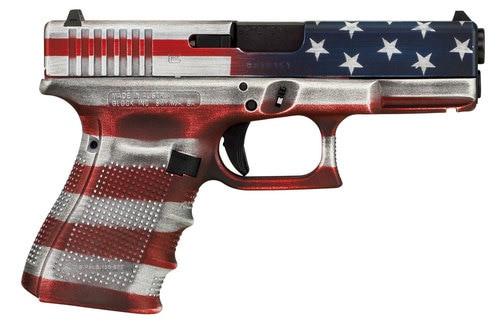 "Glock G19 Gen4, 9mm, 4.02"" Barrel, 15rd, American Flag Cerakote"