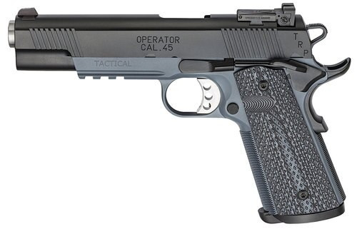 "Springfield Tactical Response Pistol Operator, Semi-automatic, 1911, Full Size, 45 ACP, 5"" Bull Barrel, Steel Frame, Tactical Grey Finish, G10 Black Garolite Grips, Ambidextrous Safety, Tritium Night Sights, Range Bag, 2-7Rd Mags"