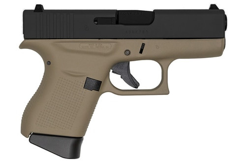 """Glock G43, 9mm, 3.41"""", 6rd, Flat Dark Earth Frame, Black Slide"""