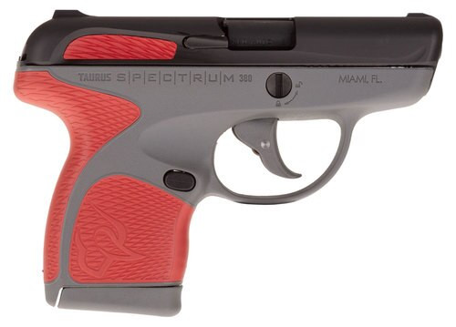 "Taurus Spectrum, .380 ACP, 2.8"" Barrel, 6rd, Gray Frame, Red Grips and Black Slide"