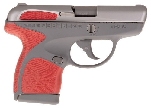 "Taurus Spectrum, .380 ACP, 2.8"" Barrel, 6rd, Gray Frame, Red Grips and Stainless Slide"