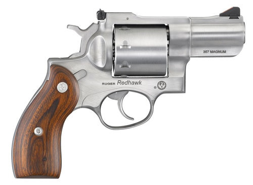 "Ruger Redhawk, .357 Mag, 2.75"" Barrel, 8rd, Satin Stainless, Wood Grips"
