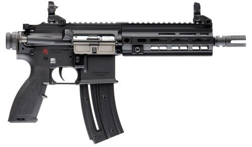 "HK, HK416, 22 LR, Blowback Action, 8.5"" Threaded Barrel, Aluminum Frame, Black, Synthetic Grip, 10Rd, 1 Mag, M-Lok RIS Rail, Right Hand, Front/Rear Flip Sights"