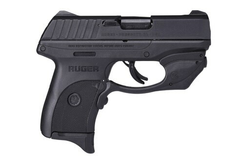 "Ruger EC9S Laser Striker Fired, Compact, 9MM, 3.1"" Barrel Thumb Safety, Crimson Trace Red Laser, 7rd Mag"