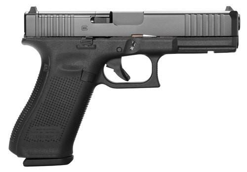 """Glock G17 Gen5, 9mm, 4.49"""" Barrel, 10rd, Black Frame, Black nDLC Slide"""