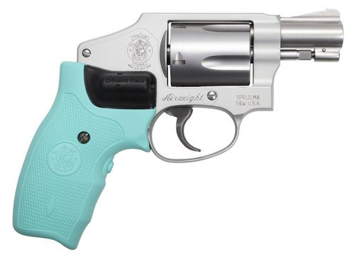 "Smith & Wesson 642, .38 Special +P, 1.875"", 5rd, Robin Egg Blue Crimson Trace Lasergrip, Stainless Cyclinder"