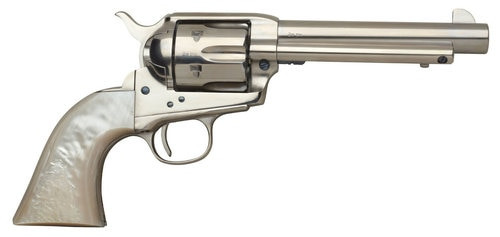 """Taylors 1873 Cattleman, .45 Colt, 5.5"""" Barrel, 6rd, Mother of Pearl Grips, Nickel"""