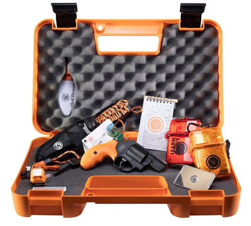 "Smith & Wesson 360 Survival Kit, 357 Mag/38 Spl, 1.875"" Barrel, 5rd, Safety Orange Grips, Black Frame/Cylinder, Survival Supplies"