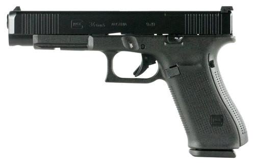 """Glock G34 Gen 5 MOS, 9mm, 5.31"""" Barrel, 10rd, Black nDLC Slide, Black Frame"""