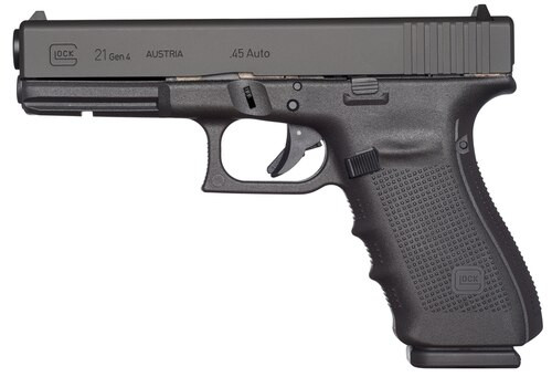 "Glock 21 Gen4, Striker Fired, Full Size, 45ACP, 4.61"" Barrel, Polymer Frame, Matte Finish, Fixed Sights, 10Rd, 3 Magazines"