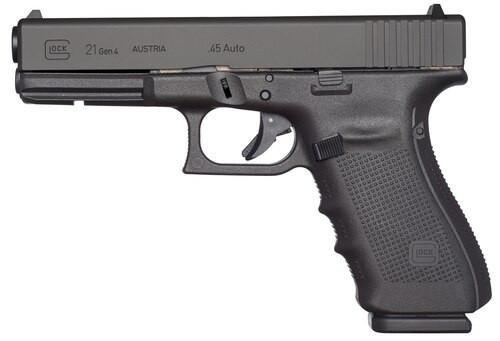 "Glock 21 Gen4, Striker Fired, Full Size, 45ACP, 4.61"" Barrel, Polymer Frame, Matte Finish, Fixed Sights, 10Rd, 3 Magazines"