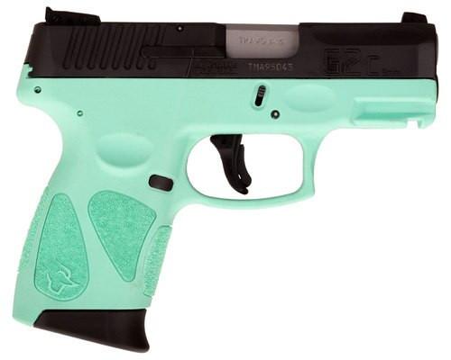 "Taurus, G2C2C, Double Action Only, Compact Pistol, 9mm , 3.2"" Barrel, Polymer Frame, Cyan Polymer Frame, Black Slide, Adjustable Sights, 12Rd, 2 Magazines"