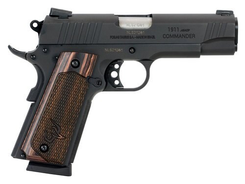"Taurus 1911 Commander, 45 ACP, 4.2"" Barrel, 8rd, Novak Sights, Walnut Grips, Black"