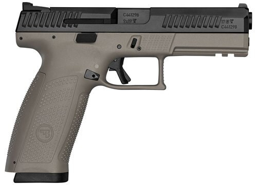 "CZ P-10F, 9mm, 4.5"" Barrel, Polymer Frame And Grips, Trigger Safety, Full Size, Semi-automatic, Night Sights, Striker Fired, 10Rd, Black Slide, Flat Dark Earth"