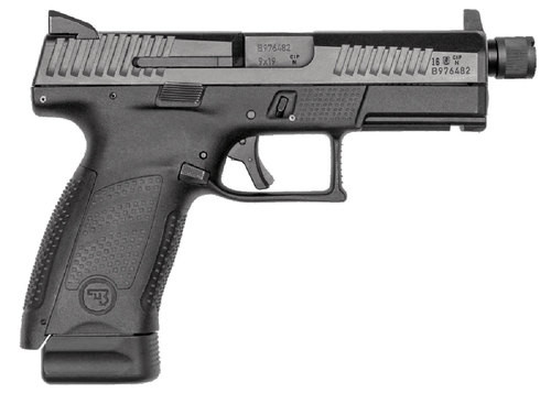 "CZ P-10C, 9mm, 4"" Threaded Barrel, Polymer Frame And Grips, Trigger Safety, Compact, High Night Sights Striker Fired, Suppressor Ready, 17Rd, Black"