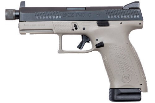 """CZ, P-10C, 9mm, 4"""" Threaded Barrel, Polymer Frame And Grips, Trigger Safety, Compact, High Night Sights, Semi-automatic, Suppressor Ready, 17Rd, Striker Fire, Gray Finish"""
